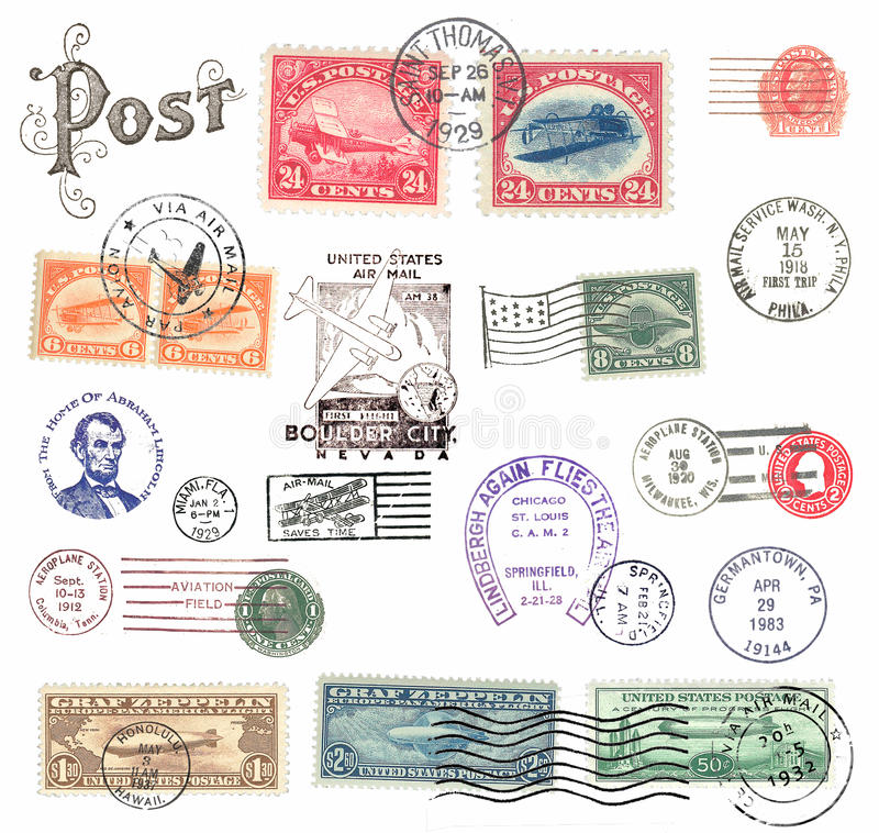 Postage stamps and labels from US royalty free illustration