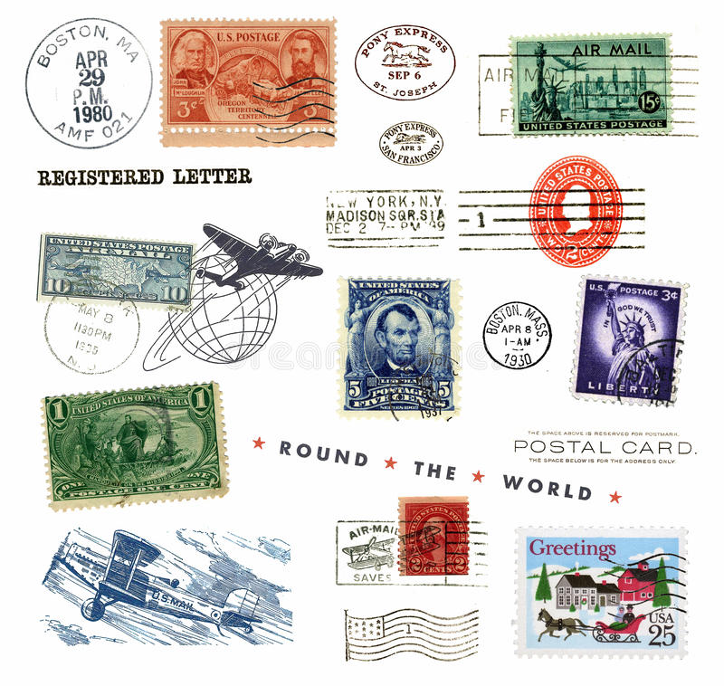 Postage stamps and labels from US royalty free stock photo