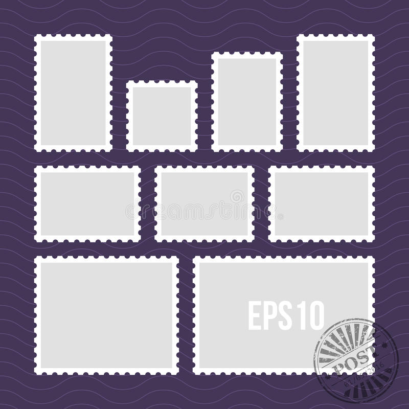 Postage stamps with perforated edge and mail stamp vector template stock illustration