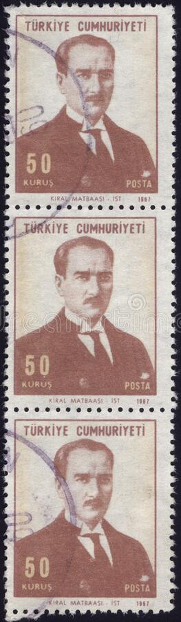 Postage stamps of the Republic of Turkey is offset printing Postal Telegraph and Telephone institutions. Republic of Turkey postage stamps royalty free stock images