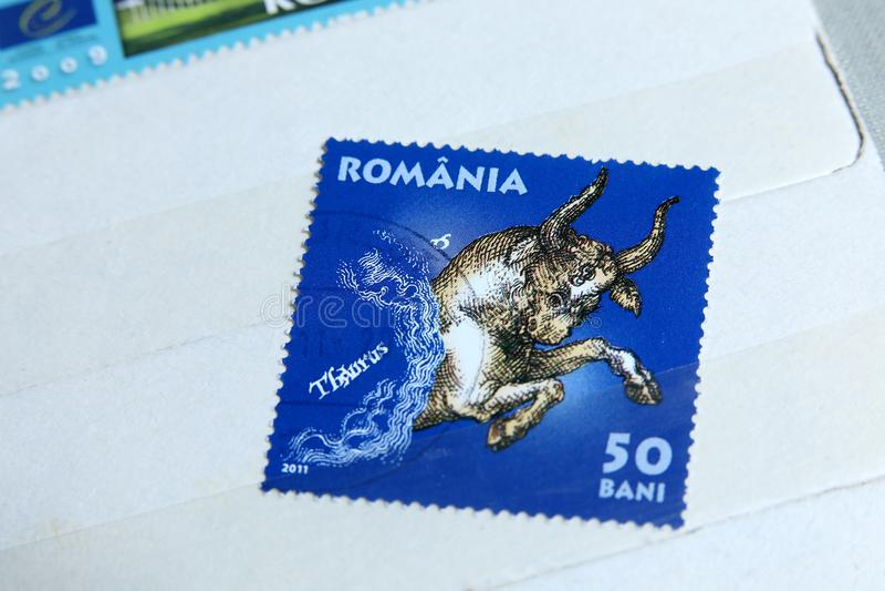 Postage stamps, Taurus stock photo