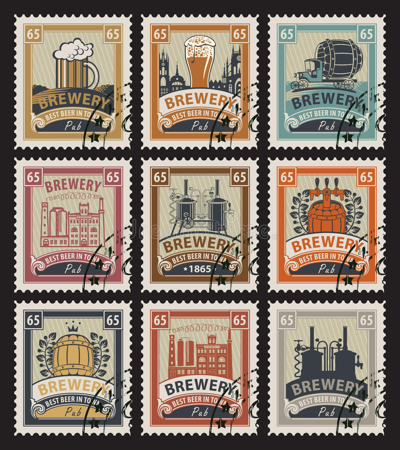 Postage stamps on the theme of beer. Set of postage stamps on the theme of beer and brewery stock illustration