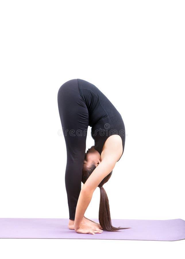 A postagem asiática da ioga dos cuidados médicos da mulher isolou o fundo branco foto de stock royalty free