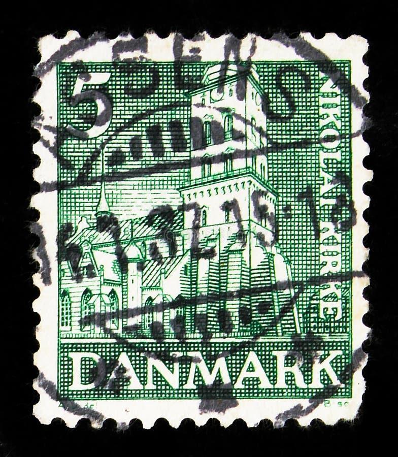 Postagstämpel i Danmark visar Reformation, 450-årsserien, circa 1936 arkivbilder