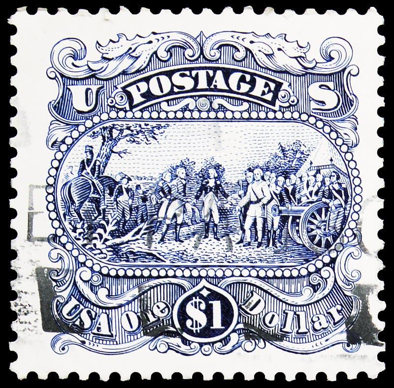 Postagstämpel i Förenta staterna visar \'The Surrender of General Burgoyne at Saratoga\' av John Trum, 1991-1994 Regular Iss arkivbild