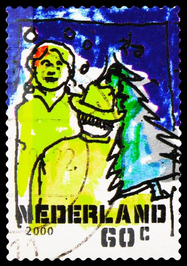 Postagstämpel i Nederländerna visar Buying a christmas tree, December Stamps serie, circa 2000 arkivbilder