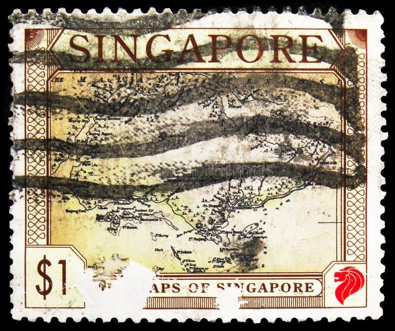 Postagstämpel i Singapore visar Del av Malay Penisula, Singapore, Gamla kartor i Singapore, circa 1996 royaltyfri fotografi