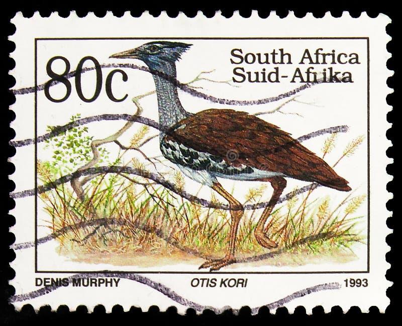 Postagstämpel i Sydafrika visar Kori Bustard (Ardeotis kori), Definitives Endangered Animals serie, circa 1993 royaltyfri fotografi