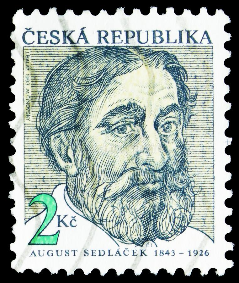 Postagstämpel i Tjeckien visar August Sedlacek (1843-1926), tjeckisk historiker och arkivist, födelsedagskalenner arkivbilder