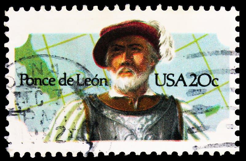 Postagstämpel tryckt i Förenta staterna visar Ponce De Leon, serie, circa 1982 royaltyfri foto