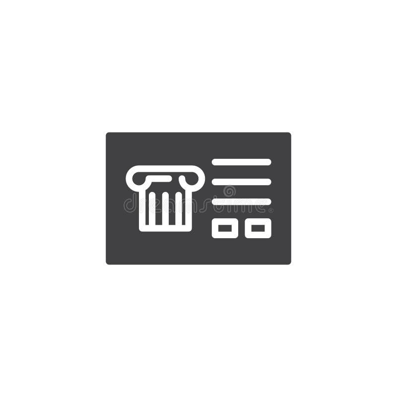 Postal antigua con el icono del vector de la columna ilustración del vector