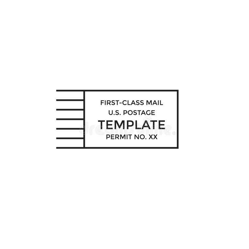 Postal cancellation First Class mail Postage Paid mark. Postal cancellation First Class mail w Postage Paid mark stock illustration