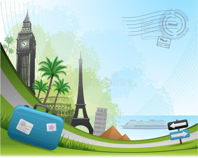 Postal card travel background vector illustration