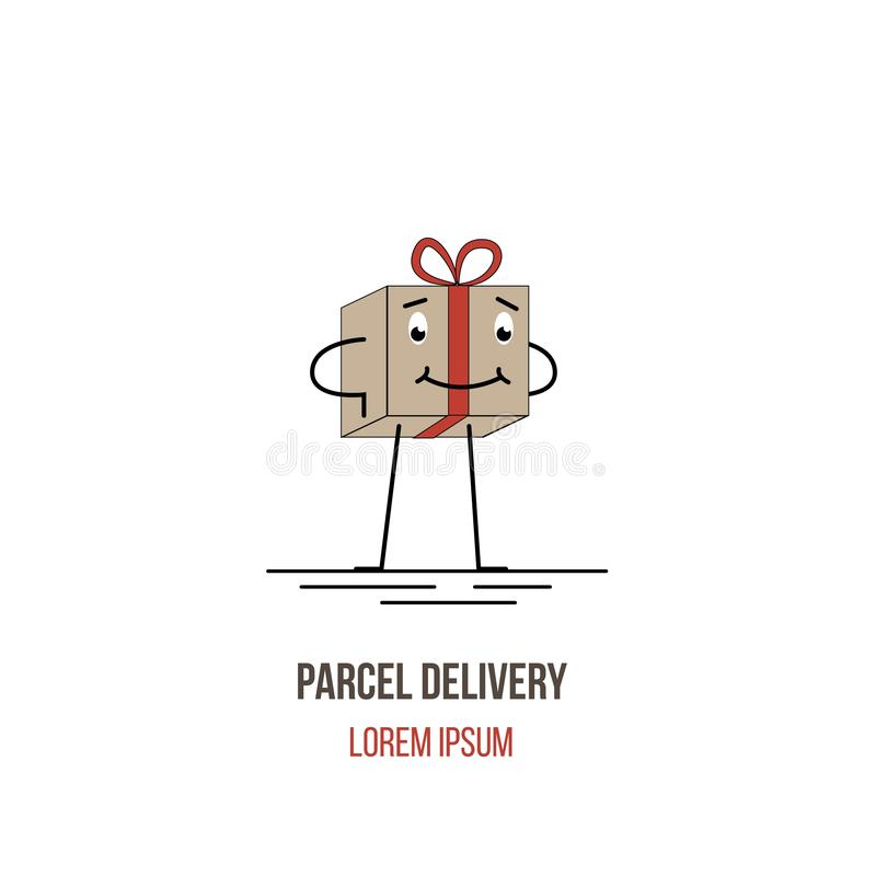 Parcel Present Box Character Isolated on White. Postal and cargo delivery services concept illustration royalty free illustration