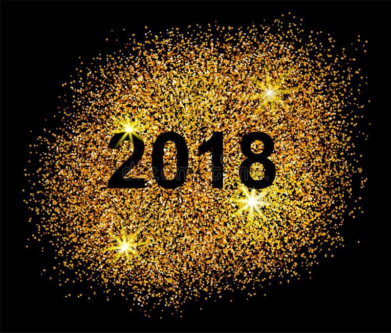 Postal china feliz 2018 del Año Nuevo Puntos de oro en negro ilustración del vector