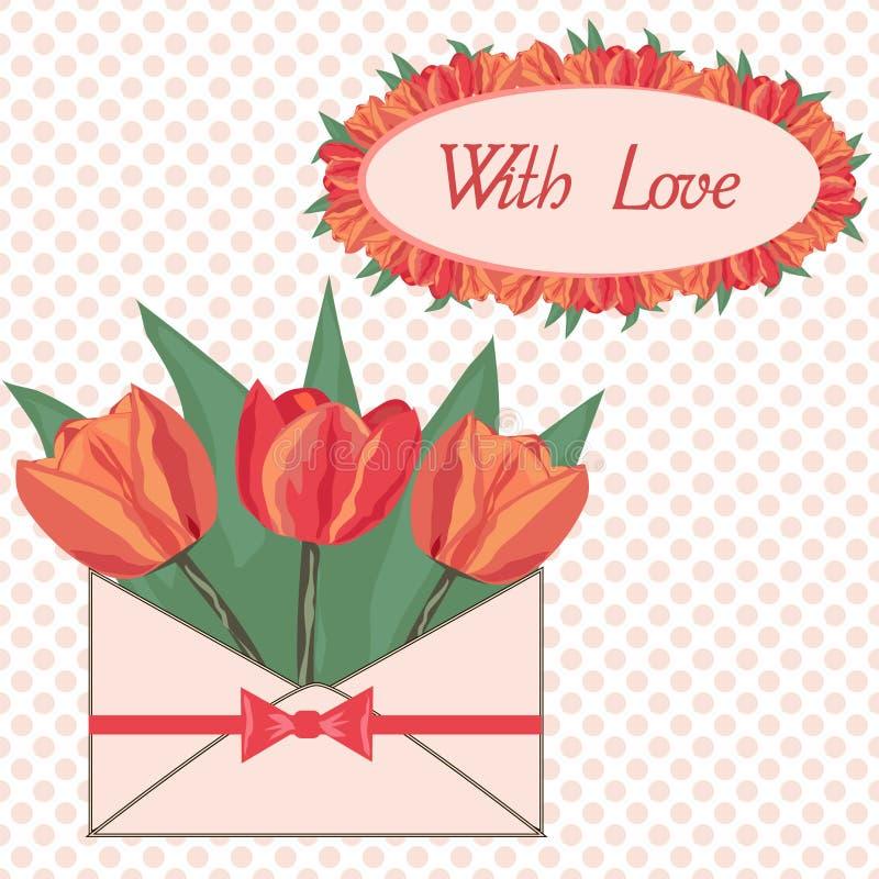 Postal con amor ilustración del vector