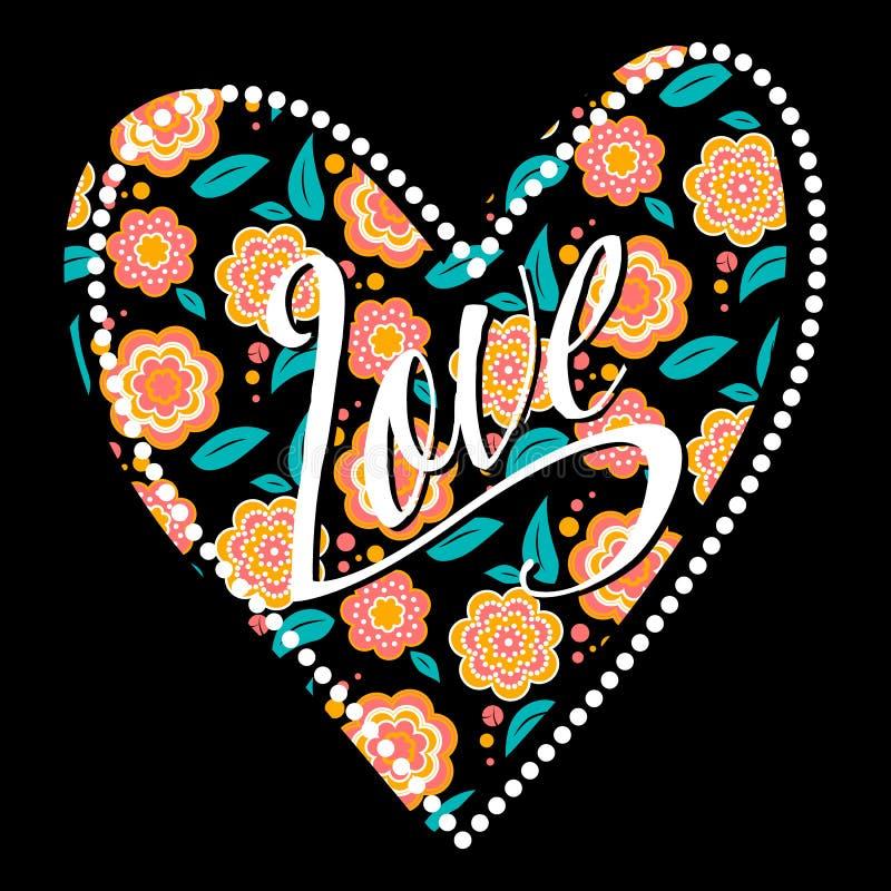 Postal con el corazón en estampado de flores oscuro libre illustration
