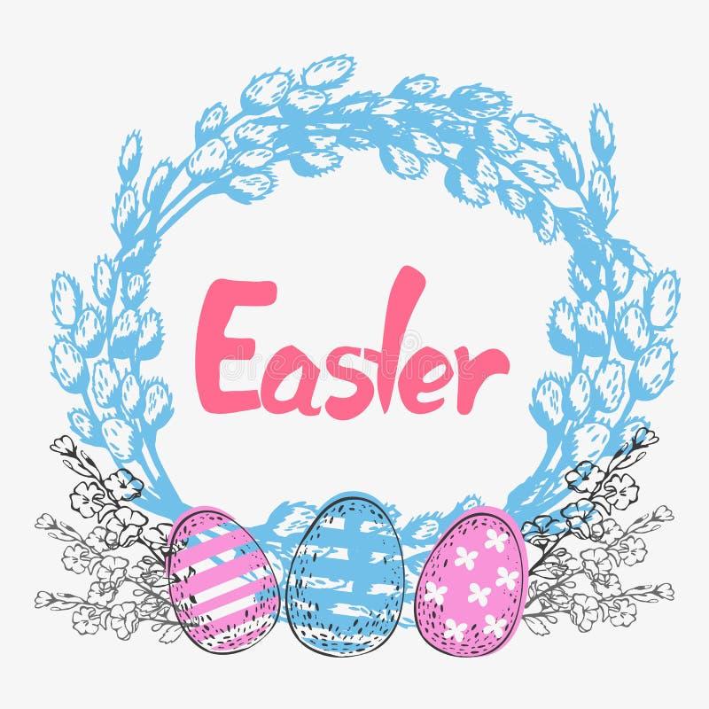 Postal con el sauce y los huevos de Pascua para Pascua ilustración del vector