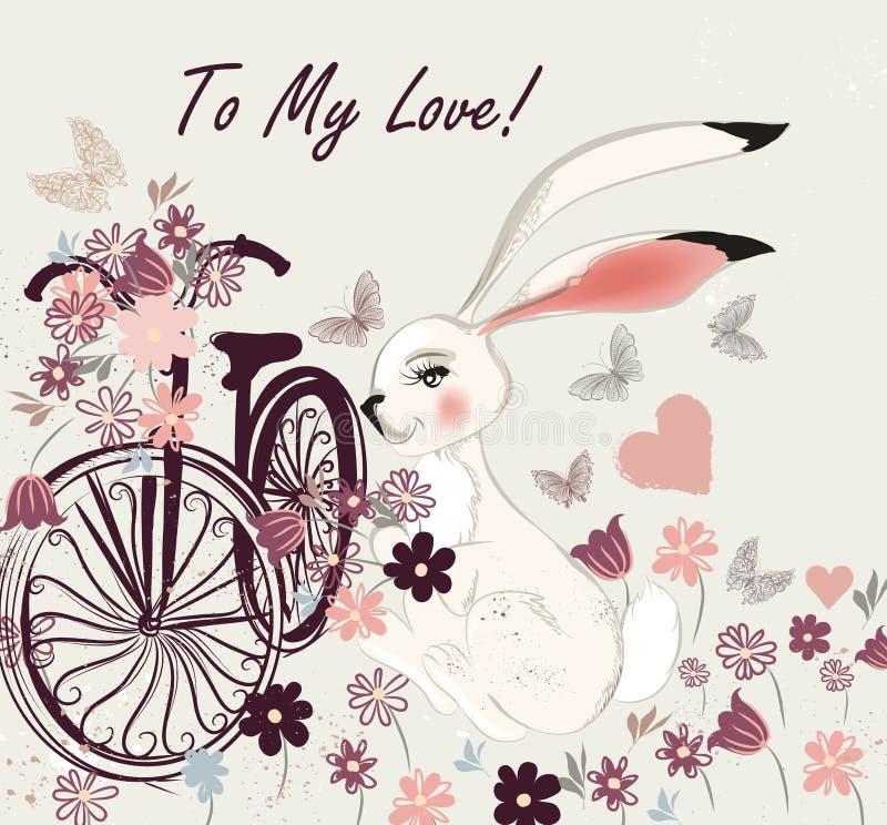 Postal con la bicicleta del conejo y el campo lindos de flores a mi lov stock de ilustración