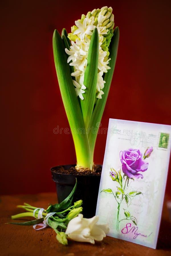 Postal con las flores frescas imágenes de archivo libres de regalías