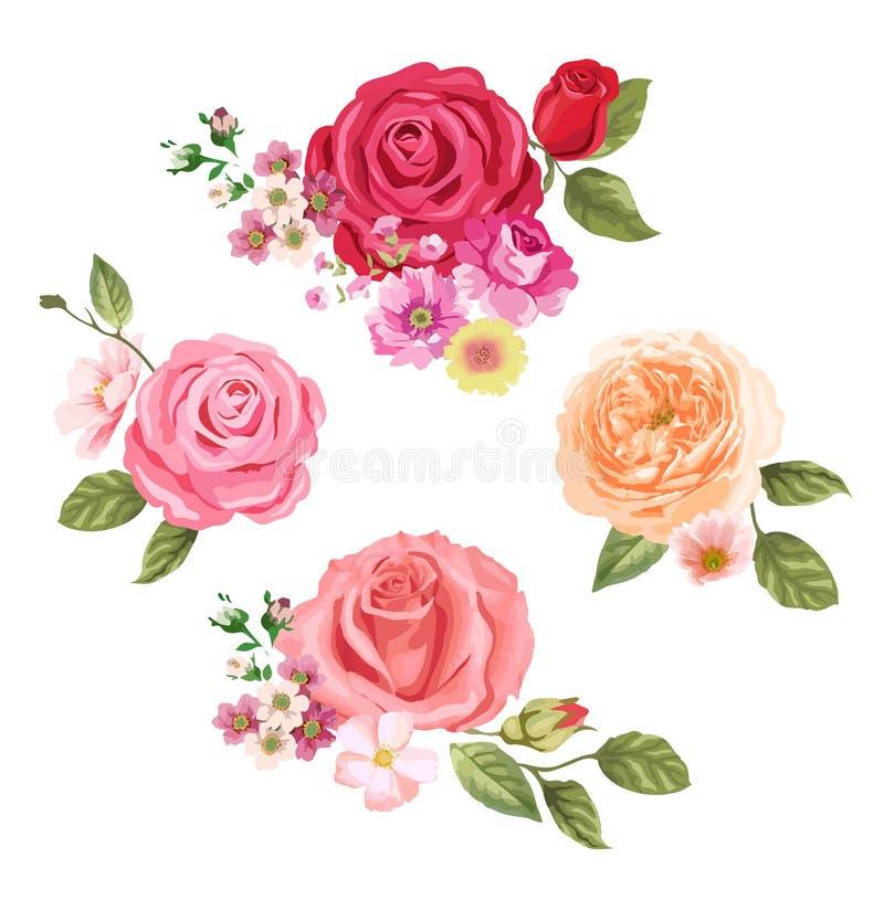 Postal con las rosas Fondo floral composición del diseño stock de ilustración