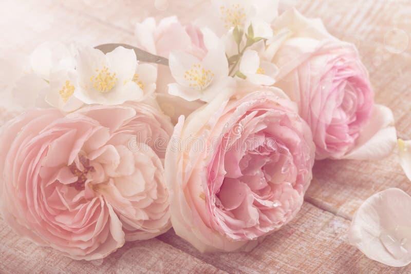Postal con las rosas frescas y el jazmín fotos de archivo libres de regalías