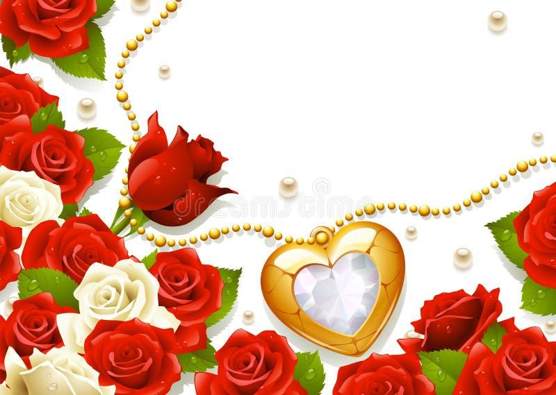 Postal con las rosas, las perlas y el medallón stock de ilustración