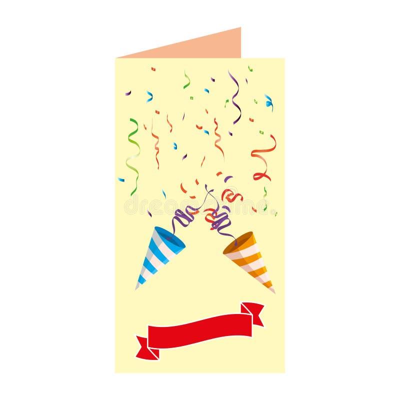 Postal con los cucuruchos y el confeti del partido stock de ilustración