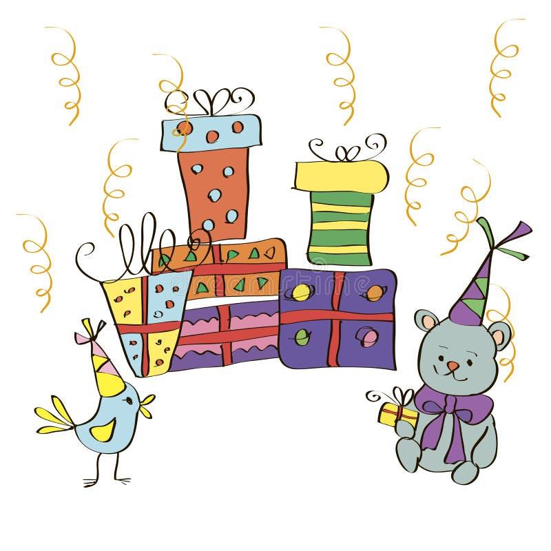 Postal con los regalos, el pájaro y el oso en sombreros festivos stock de ilustración