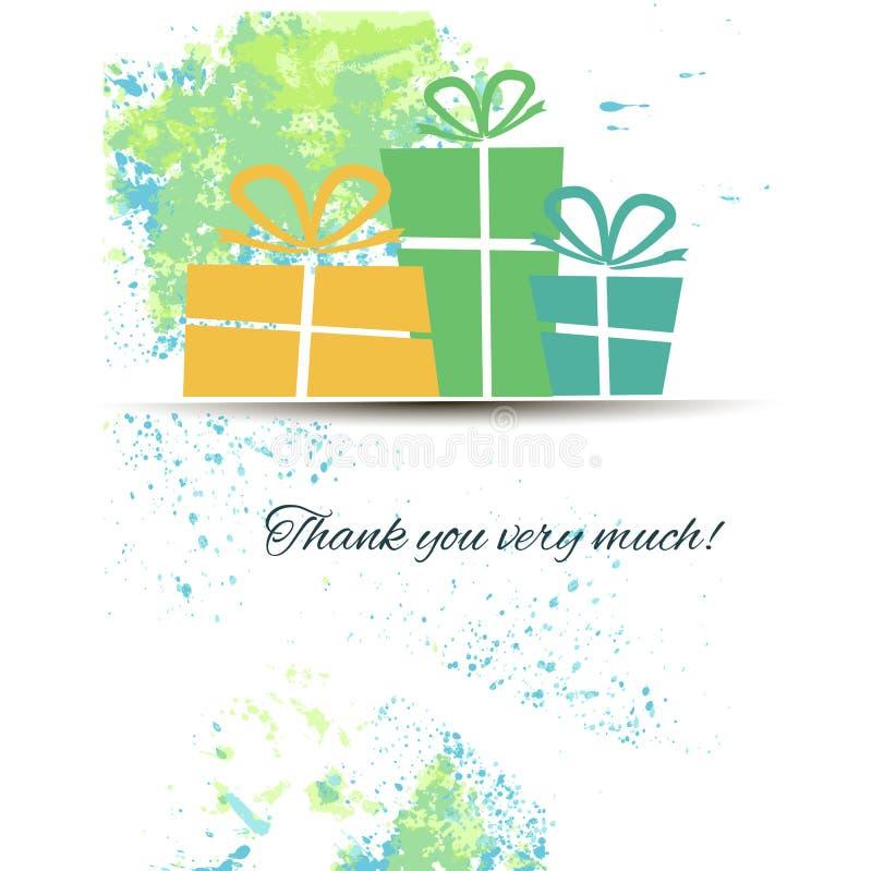Postal con los regalos y gratitud en una acuarela libre illustration