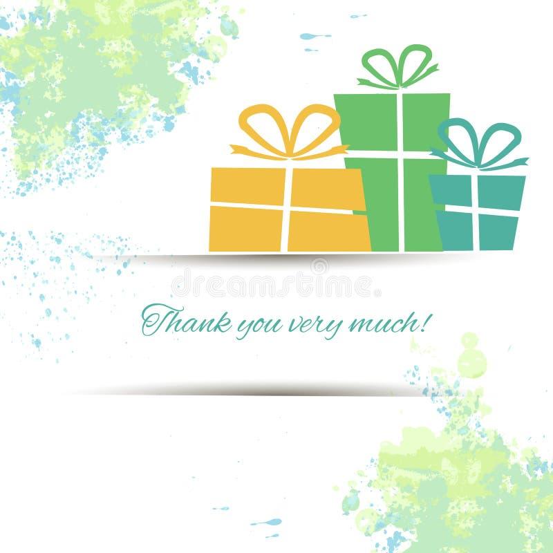 Postal con los regalos y gratitud en una acuarela ilustración del vector