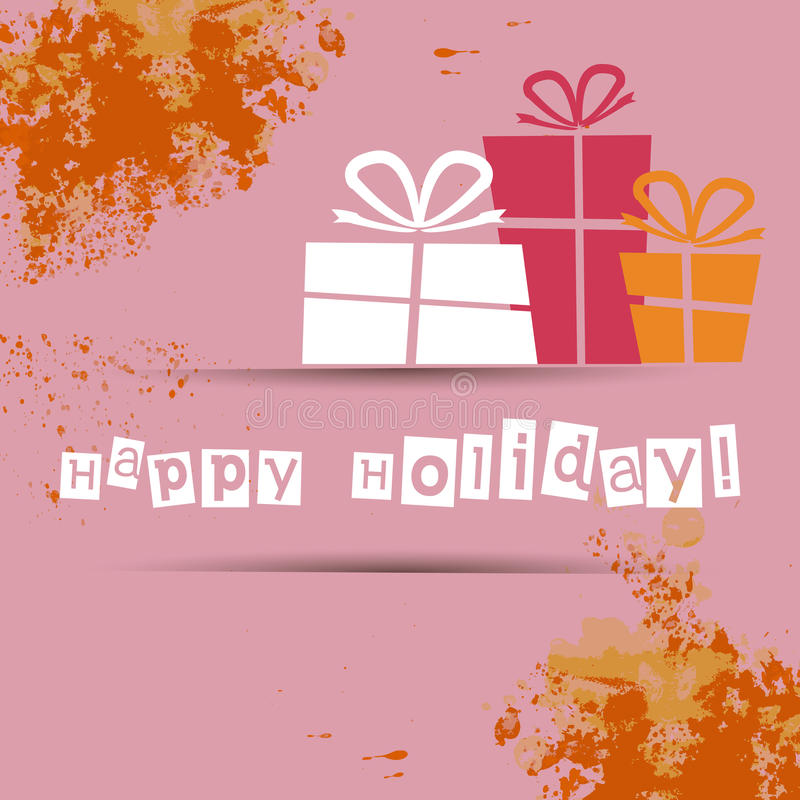 Postal con los regalos y los buenos deseos por un día de fiesta feliz libre illustration