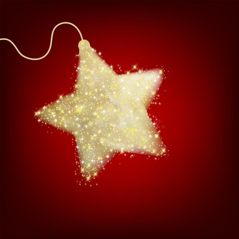 Postal con una estrella del rojo del centelleo. EPS 8 stock de ilustración