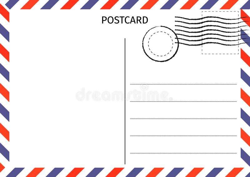 postal Correo aéreo Ejemplo de la tarjeta postal para el diseño Viajes ilustración del vector