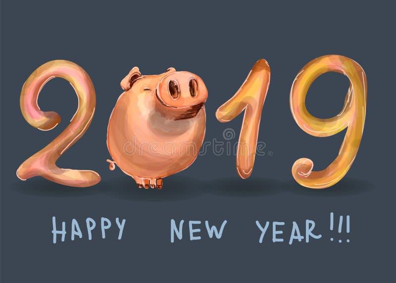 Postal creativa por nuevo 2019 años con el cerdo lindo Concepto, plantilla vertical Símbolo del año en la c china libre illustration