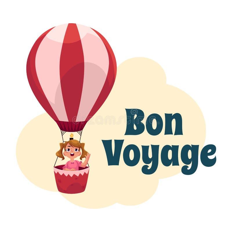 Postal de Bon Voyage, bandera, cartel con la muchacha en balón de aire libre illustration