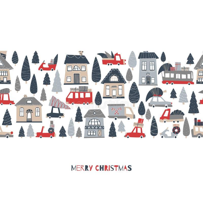 Postal de borde de patrón de Navidad transparente. Ciudad del d?a de fiesta. Casas y autos brillantes con regalos y árboles de N stock de ilustración