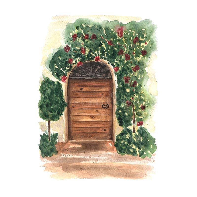 Postal de la acuarela con la puerta de madera vieja floral decorativa Diseño de Provence Lugar romántico de Italia ilustración del vector