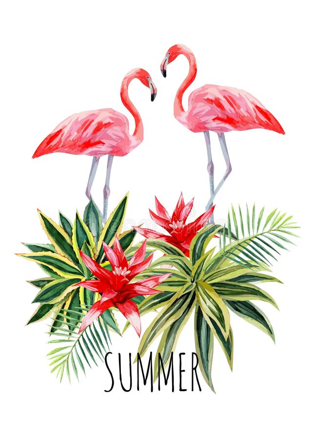 Postal de la acuarela del agava del flamenco libre illustration