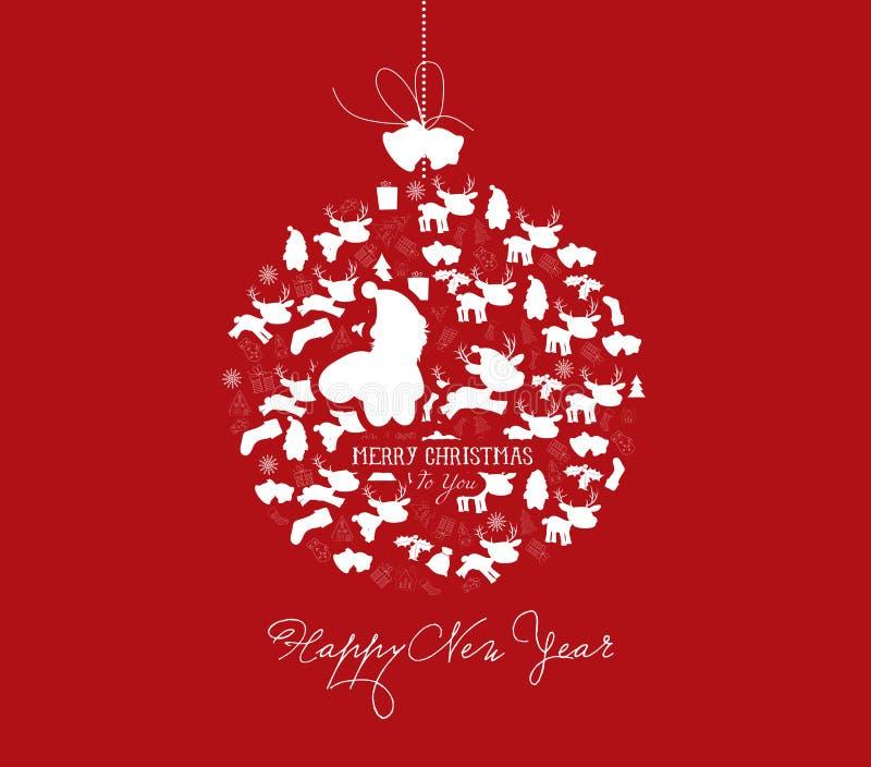 Postal de la bola del Año Nuevo y de la Navidad stock de ilustración