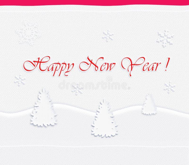Postal de la Feliz Año Nuevo, abeto blanco, fondo blanco de la tela ilustración del vector