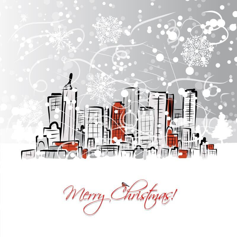 Postal de la Feliz Navidad con el fondo del paisaje urbano stock de ilustración