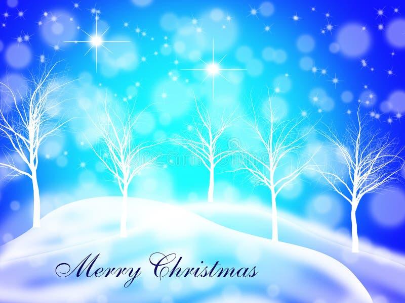 Postal de la Feliz Navidad con un fondo soñador de la noche estrellada ilustración del vector