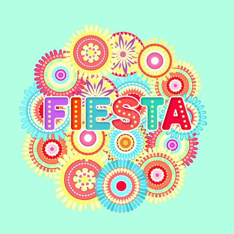 Postal de la fiesta, flores abstractas, texto decorativo ilustración del vector
