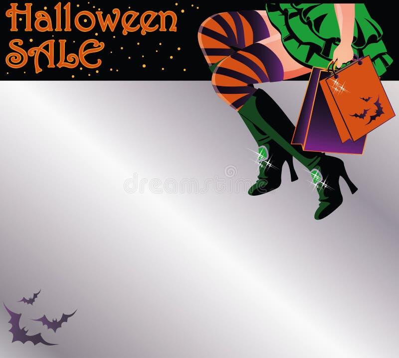 Postal de la invitación de las compras de la venta de Halloween libre illustration