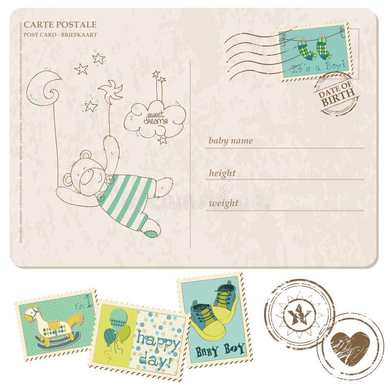 Postal de la llegada del bebé con el conjunto de sellos stock de ilustración