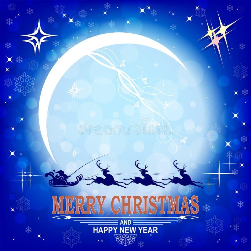 Postal de la Navidad con la luna y Santa Claus brillantes grandes en un trineo en un reno stock de ilustración