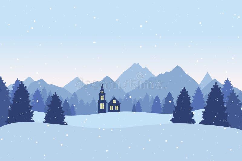 Postal de la Navidad con paisaje del invierno Árboles de pino, montañas libre illustration