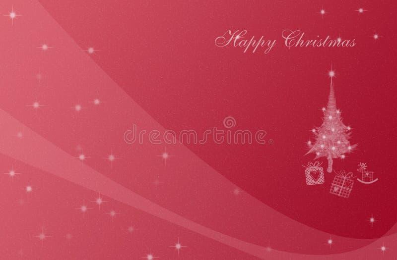 Postal de la Navidad con un árbol de navidad con los presentes y las estrellas brillantes libre illustration