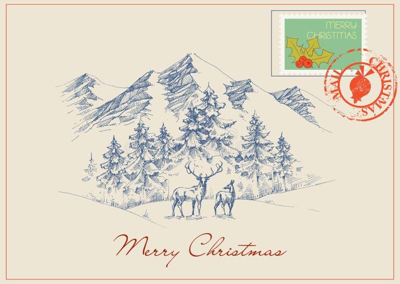 Postal de la Navidad del vintage libre illustration